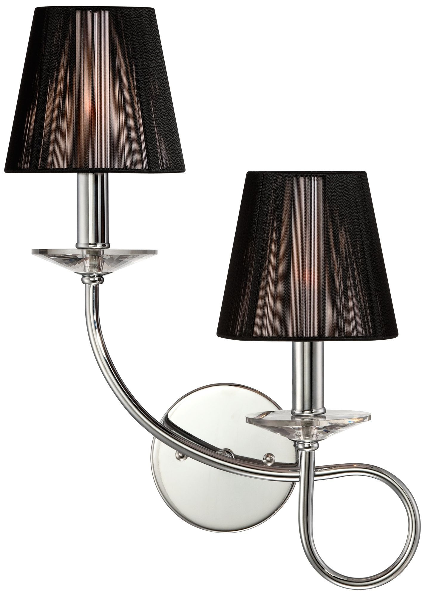 Double Swirl Chrome with Black Shade Possini Euro Sconce ... on Decorative Wall Sconces Candle Holders Chrome Nickel id=49728