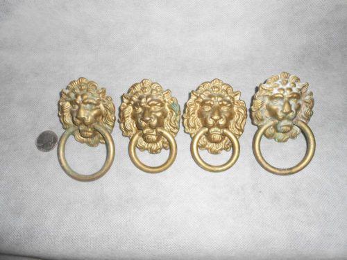 Vintage Lions Head Brass Drawer Pulls Set Of Four