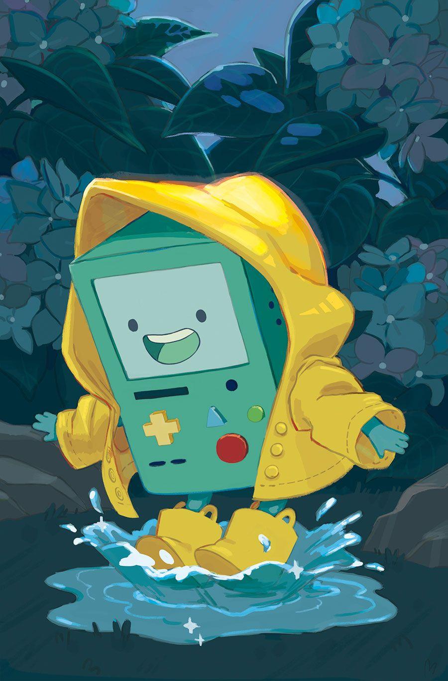 Adventure Time BMO jugando en la lluvia Cartoon