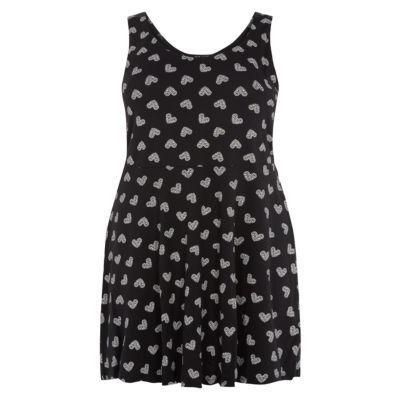 $14, Black Print Skater Dress: New Look Inspire Black Lace Heart Print Skater Dress. Sold by New Look. Click for more info: http://lookastic.com/women/shop_items/44208/redirect