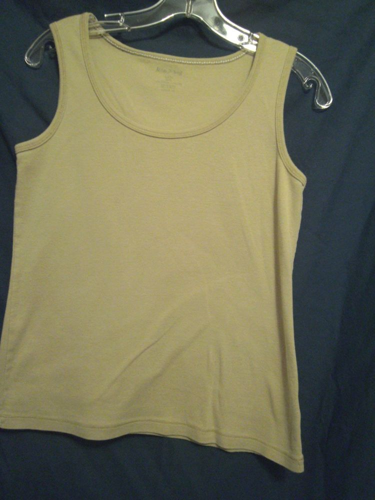 578e332d7706af White Stag Tank Top Tan Deep Scoop Neck Size Small Sleeveless 100% Cotton  #WhiteStag #TankCami #Career