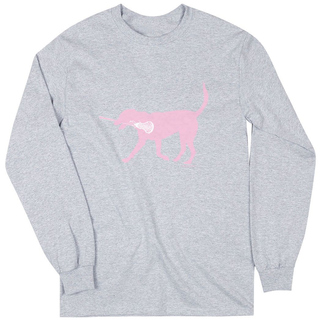 b1d4204f Girls Lacrosse Long Sleeve T-Shirt - LuLa The Lax Dog (Pink) | Sport Gray,  Girl's, S | Girls Lacrosse Apparel