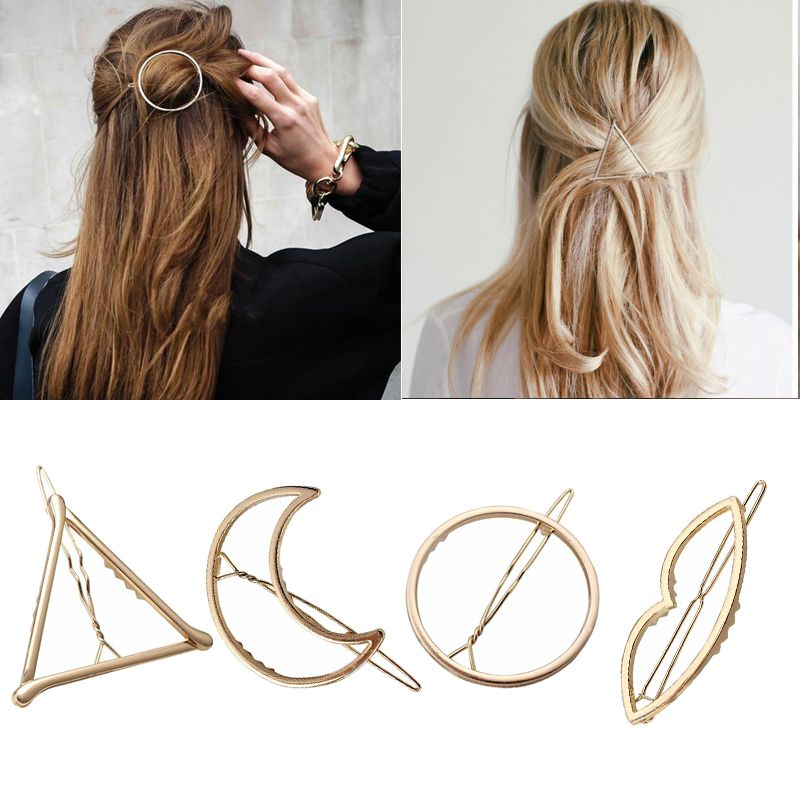 M Mism New 4 Pcs Gold Hair Clips Women Hairpins Hair Accessories Hair Decoration Hairstyling Jewelry Fashion Headpiece Barrette Hair Jewelry