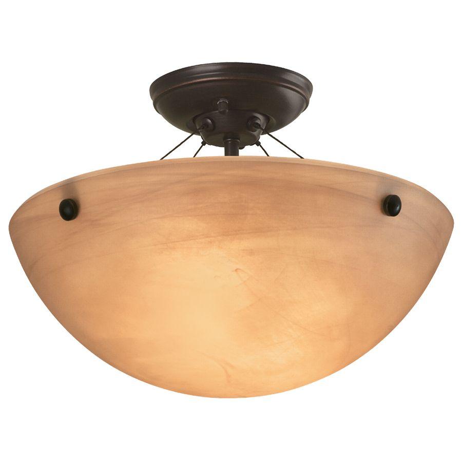 Portfolio 14 12 In W Oil Rubbed Bronze Alabaster Glass Semi Flush Mount Light Lightingflush