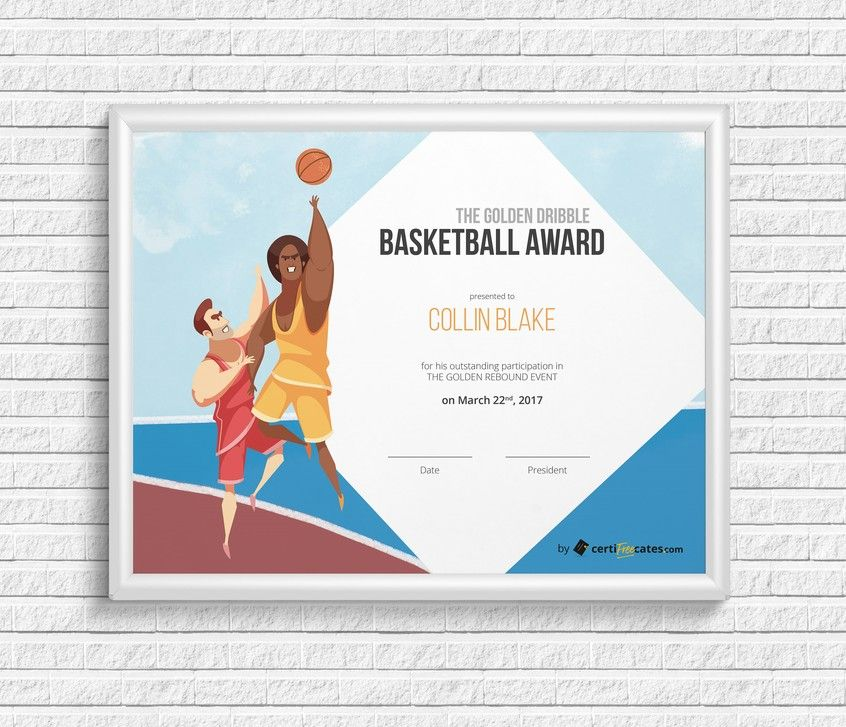 Basketball Award Certificate  Certificate And Template