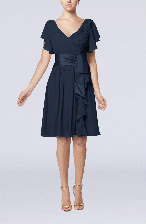 Navy blue guest dress romantic short sleeve zip up knee length