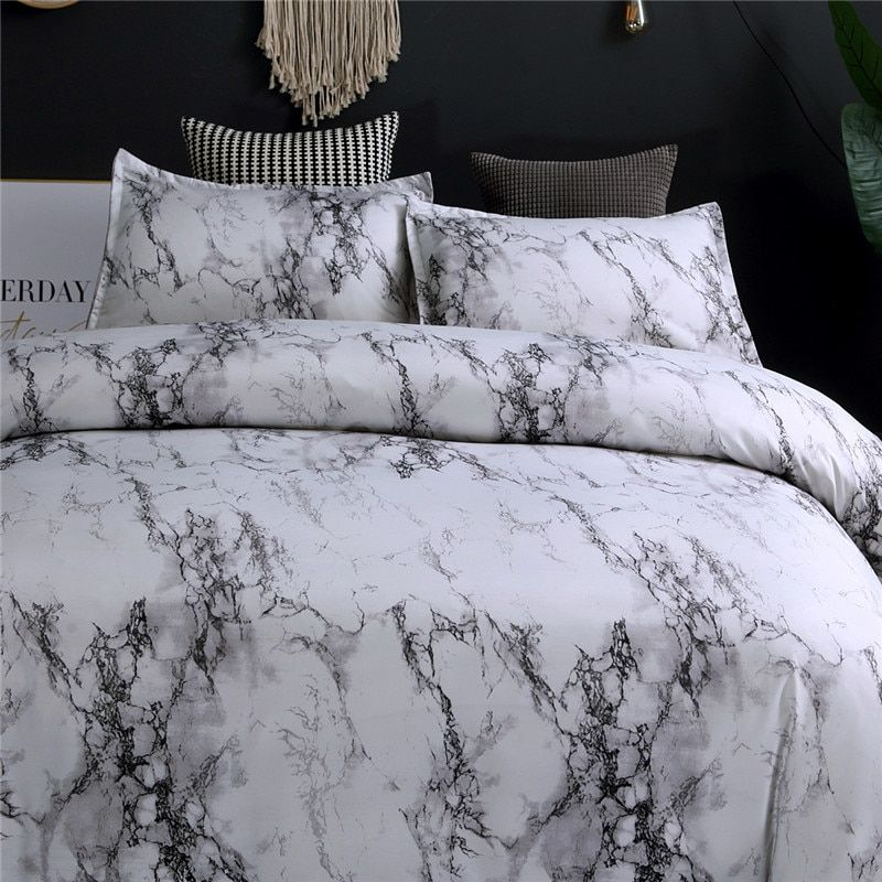 Modern Marble Printed Bedding Set Queen Size 2pcs 3pcs Kjselections Marble Bed Set Marble Duvet Cover Marble Bedding