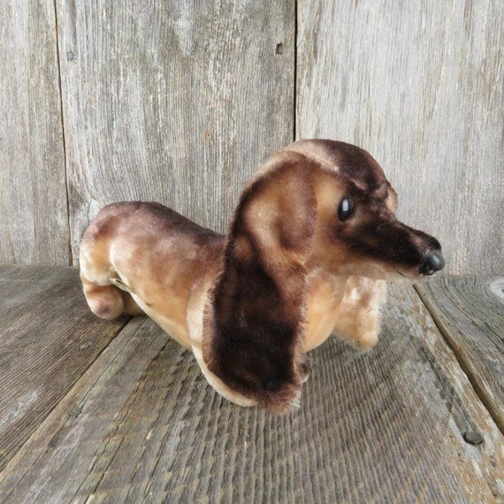 Vintage Dog Plush Dachshund Dog Stuffed Animal Wiener Puppy Toy
