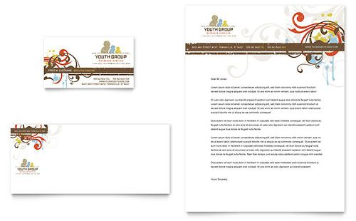 Church Ministry  Youth Group  Business Card  Letterhead
