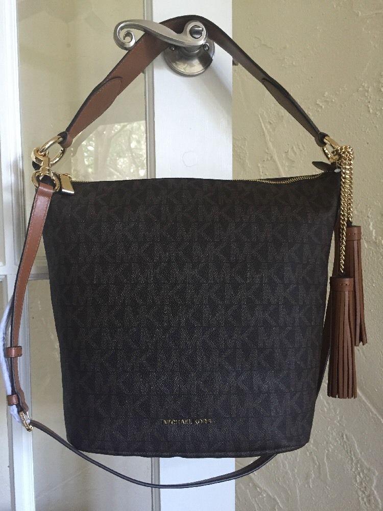 1b1fb5bc52df MICHAEL Michael Kors Elana Large Convertible Shoulder Bag Brown Signature # MichaelKors #Hobo