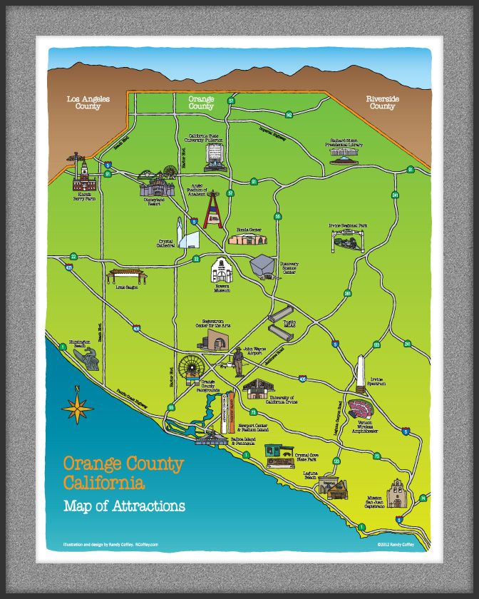 Orange County California Map of Attractions | SoCal Homes and ... on