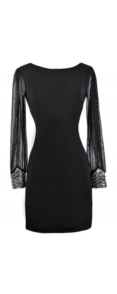 ce0cef978e1 Lily Boutique Highlight Of The Night Embellished Cuff Black Dress