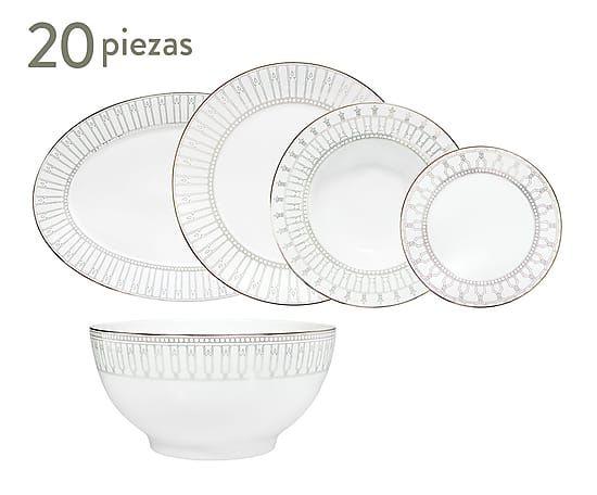 Porcel - Vajilla de porcelana decorada Allegro - 20 piezas ...