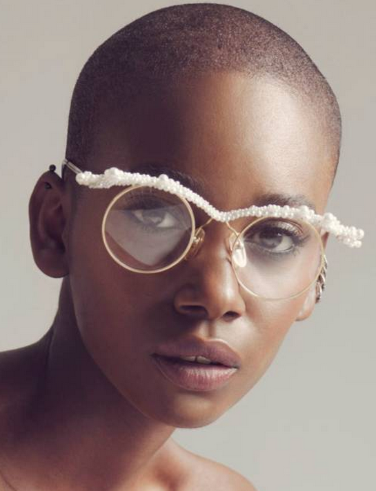 Shustring Magazine features Mercura NYC Original Caviar pearl on golden round glasses, photo by Mike Carson, styled by Jonzu Jones