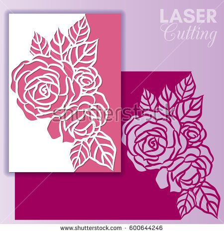 Laser Cut Wedding Invitation Or Greeting Card With Roses