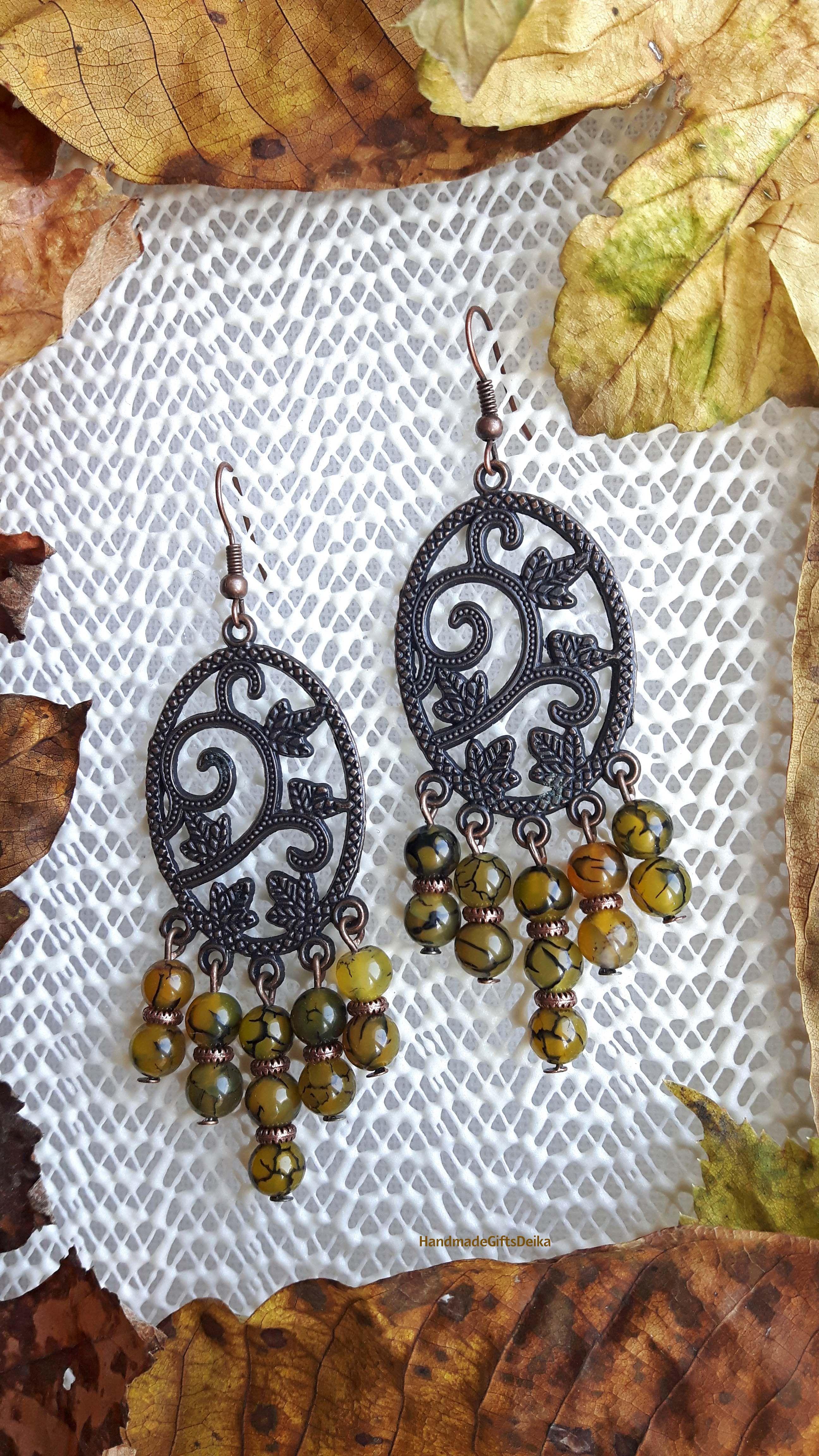 Handmade earrings with dragon agate.