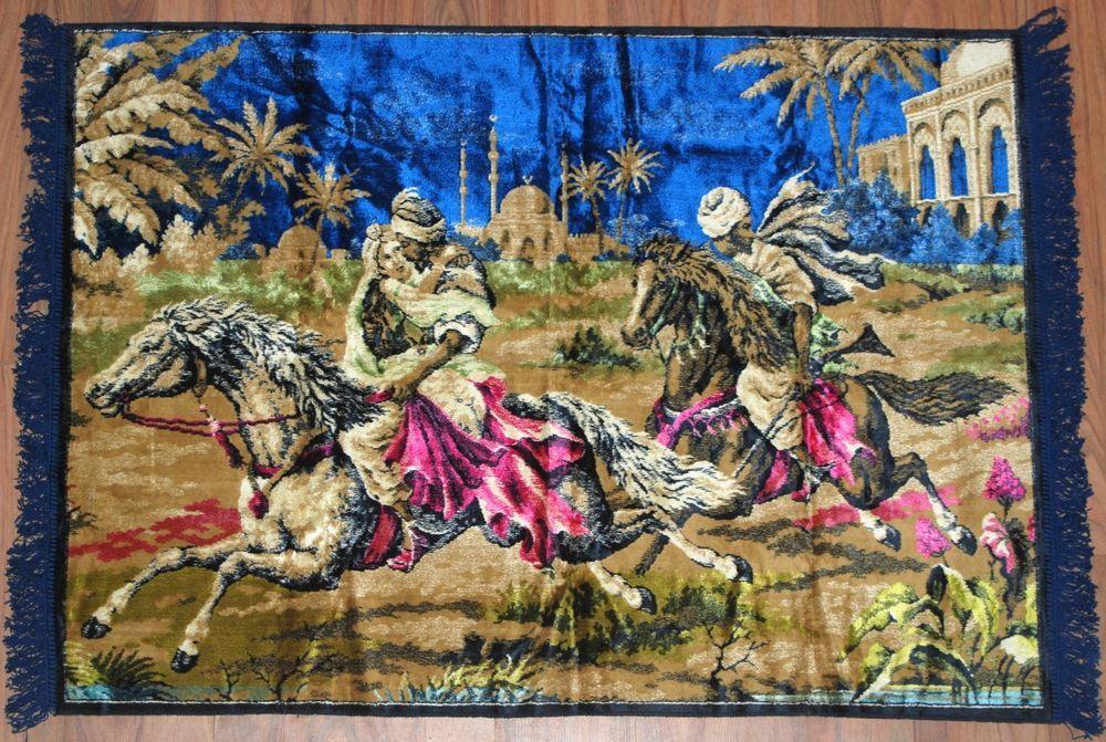 Vtg Tapestry Wall Hanging Rug Decor Arabian Horse Rider Girl Taj Mahal Pink Blue Rug Decor Tapestry Wall Hanging Wall Tapestry