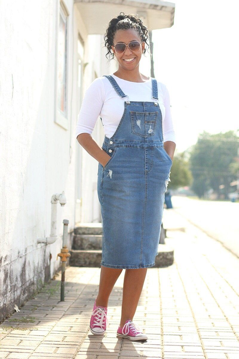 7bac0e2ede  Brittany  Light Wash Distressed Denim Overall Skirt.