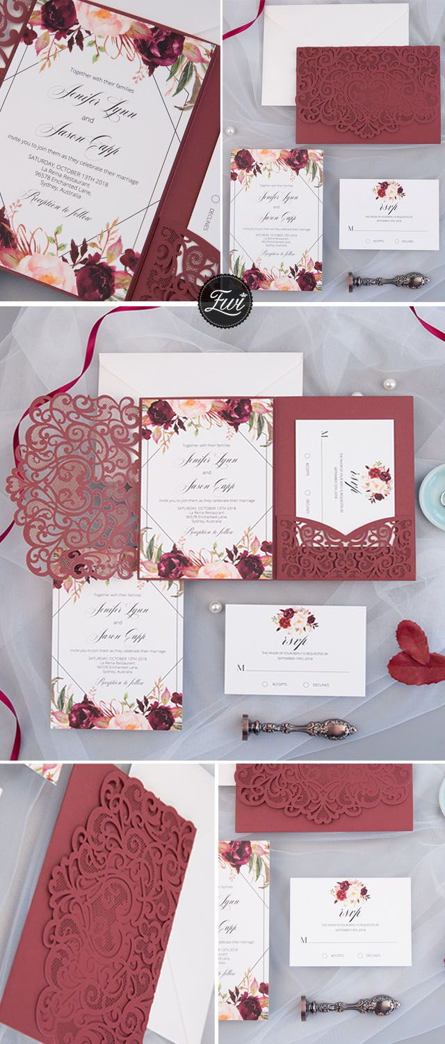Maroon decor for wedding  The Modern Touchburgundy laser cut pocket fold with floral and
