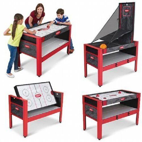 Kidu0027s 5 In 1 Game Table Air Hockey Basketball Hoop Indoor Archery Arcade  Room #Majik