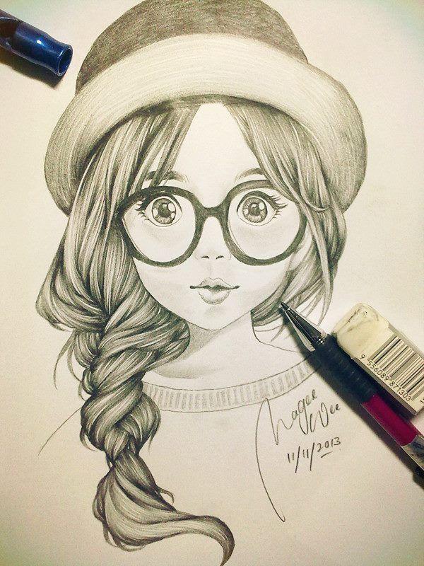 Bello pinteres for Pencil sketch of cute girl