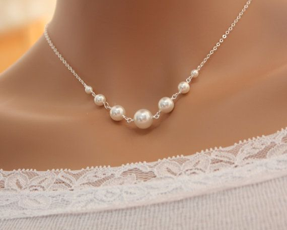Pearl necklace Bridal wedding jewelry elegant simple swarovski