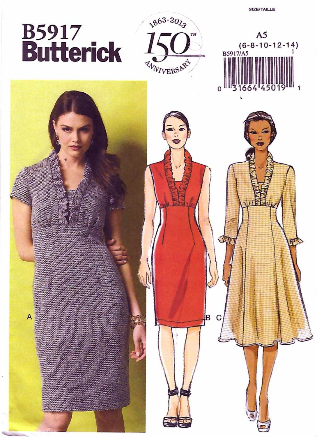 Butterick+Sewing+Pattern+5917+Misses+Size+6-14+Easy+Straight+Flared+Empire+Waist+Dress
