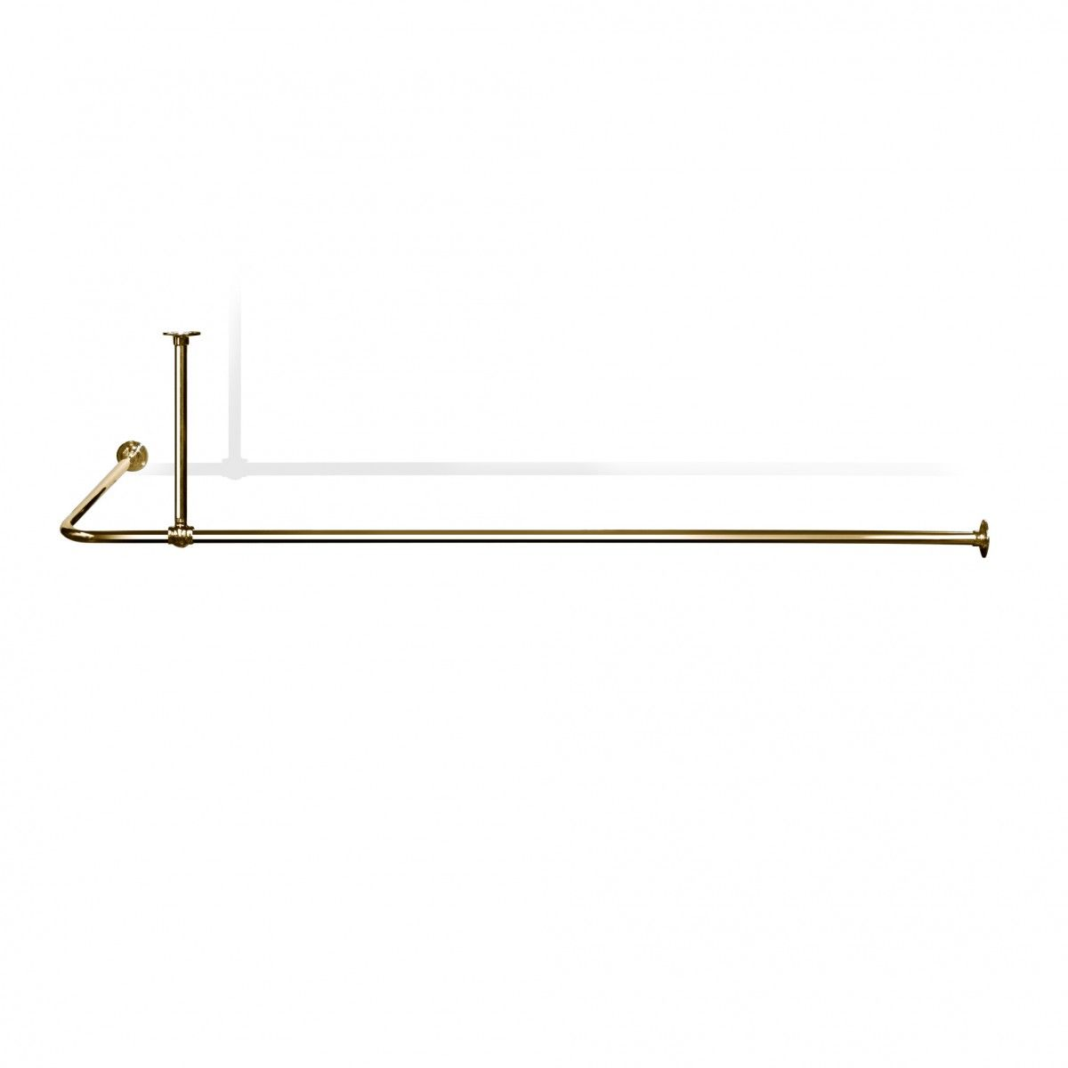 L Shaped Shower Curtain Rail with Ceiling fixing in Polished Brass ...