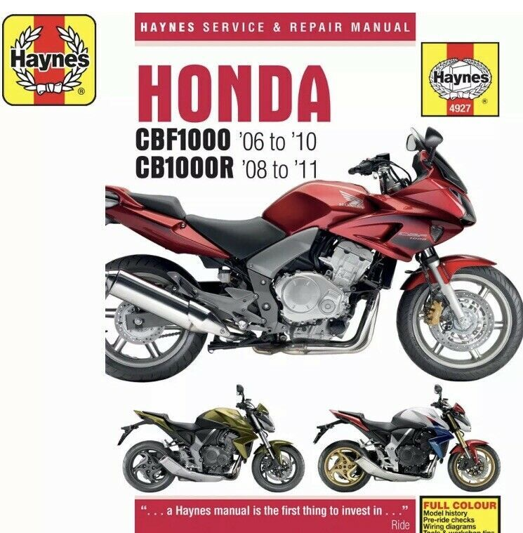 Honda Cbf1000 2006 10 Cb1000r 2008 11 Haynes Workshop Manual 4927