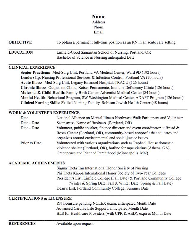 Registered Nurse Acute Care Resume Examples Resume Cv Bachelor Of Science In Nursing Acute Care Nursing Resume
