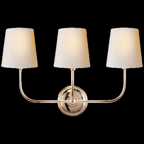 Vendome Triple Sconce Visual Comfort Lighting Polished Nickel Wall Sconce Sconces