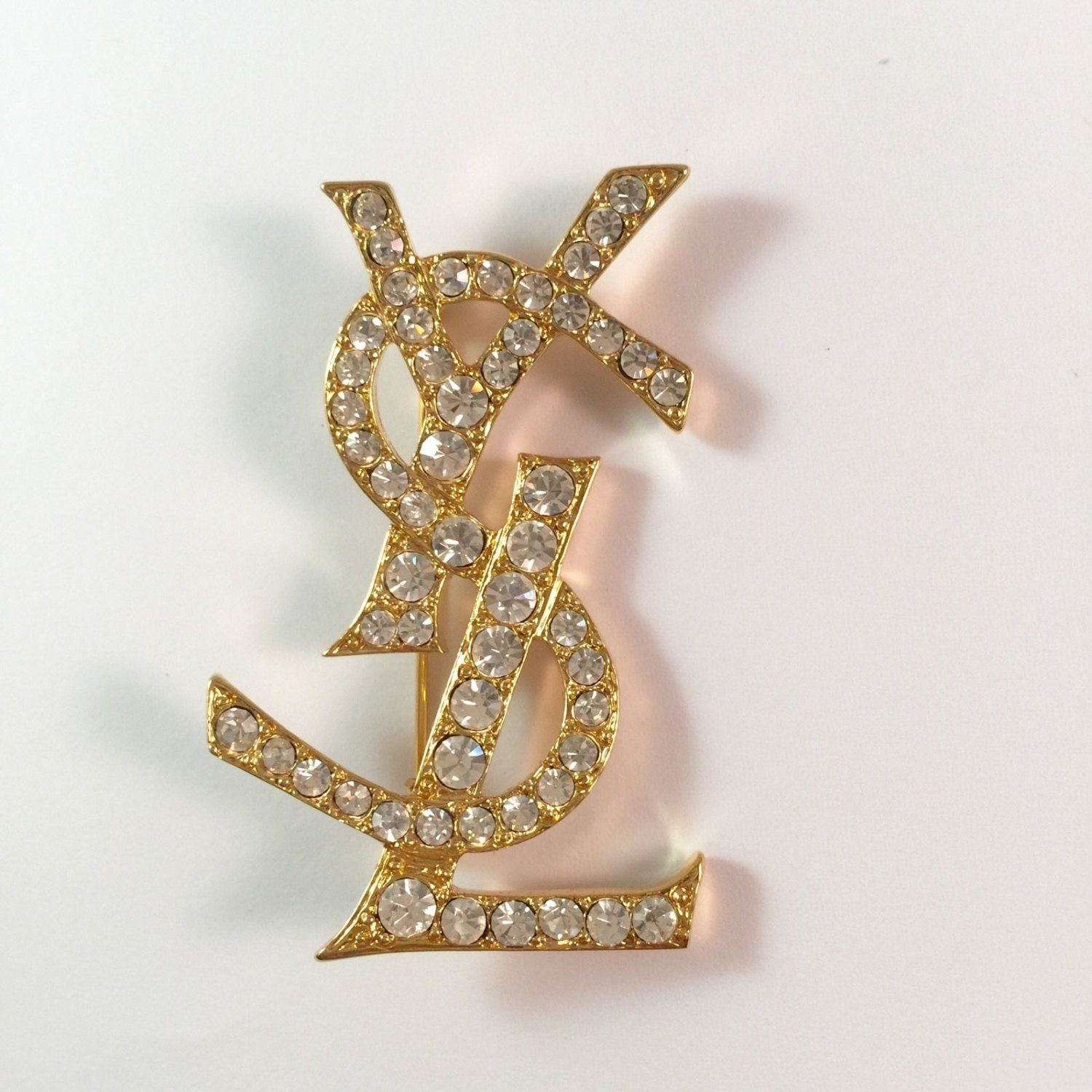 e33a6e36d49 YSL Brooch -Authentic Yves Saint Laurent Signed Large Vintage Swarovski  Brooch Pin by MODELUNA76 on Etsy