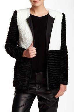 Colorblock Faux Fur Jacket