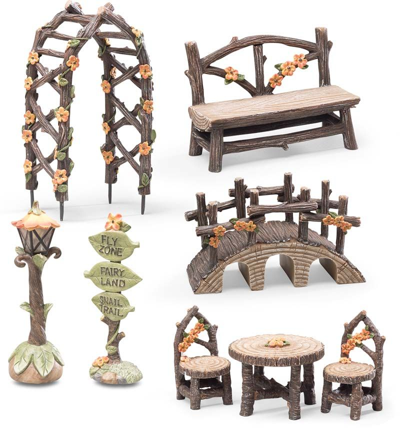 Beautiful FlyZone Fairyland 8 Piece Fairy Garden Accessory Set Includes Fairy Sized  Table And Chairs,