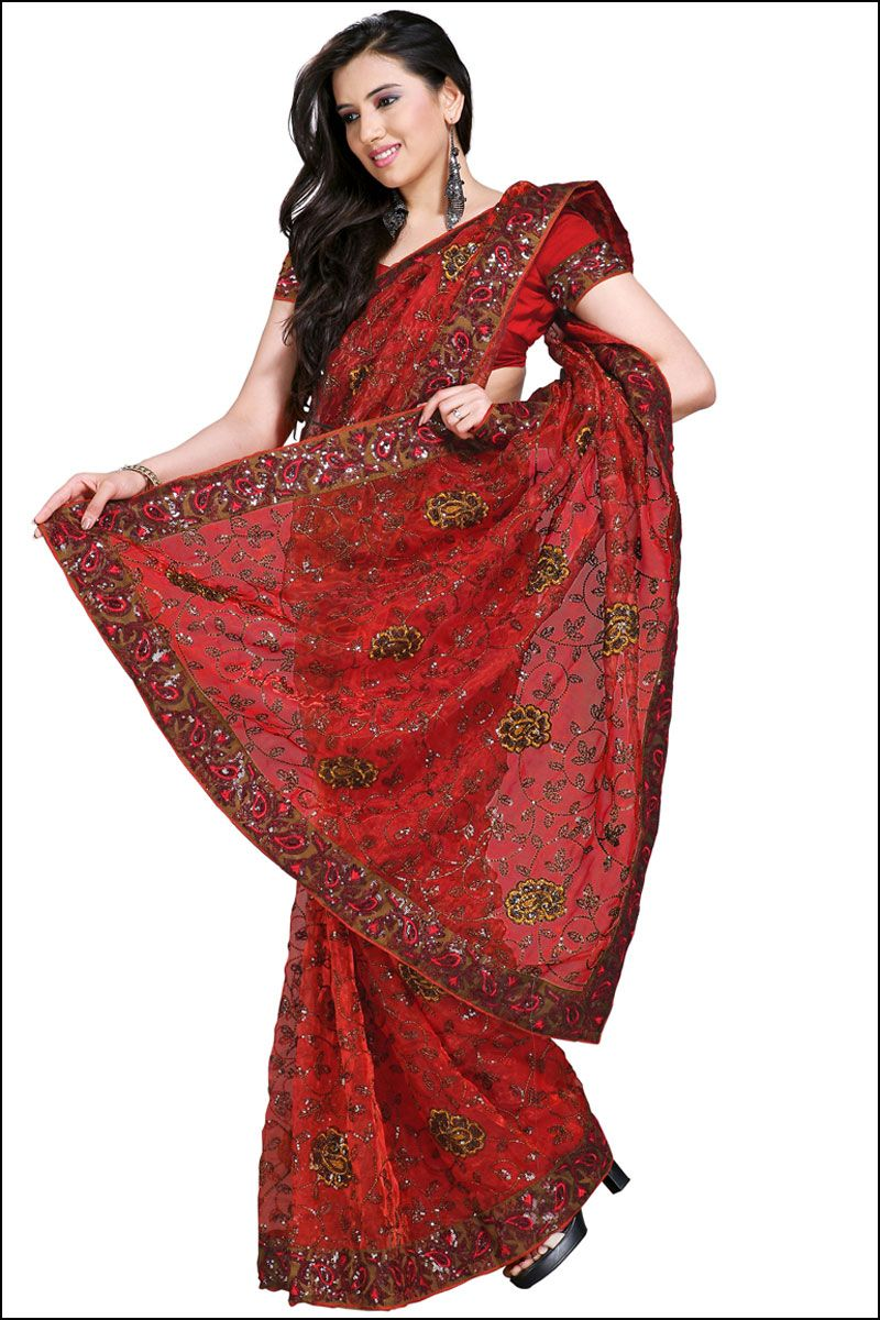 Designer embroidered saree cardinal red embroidered party and