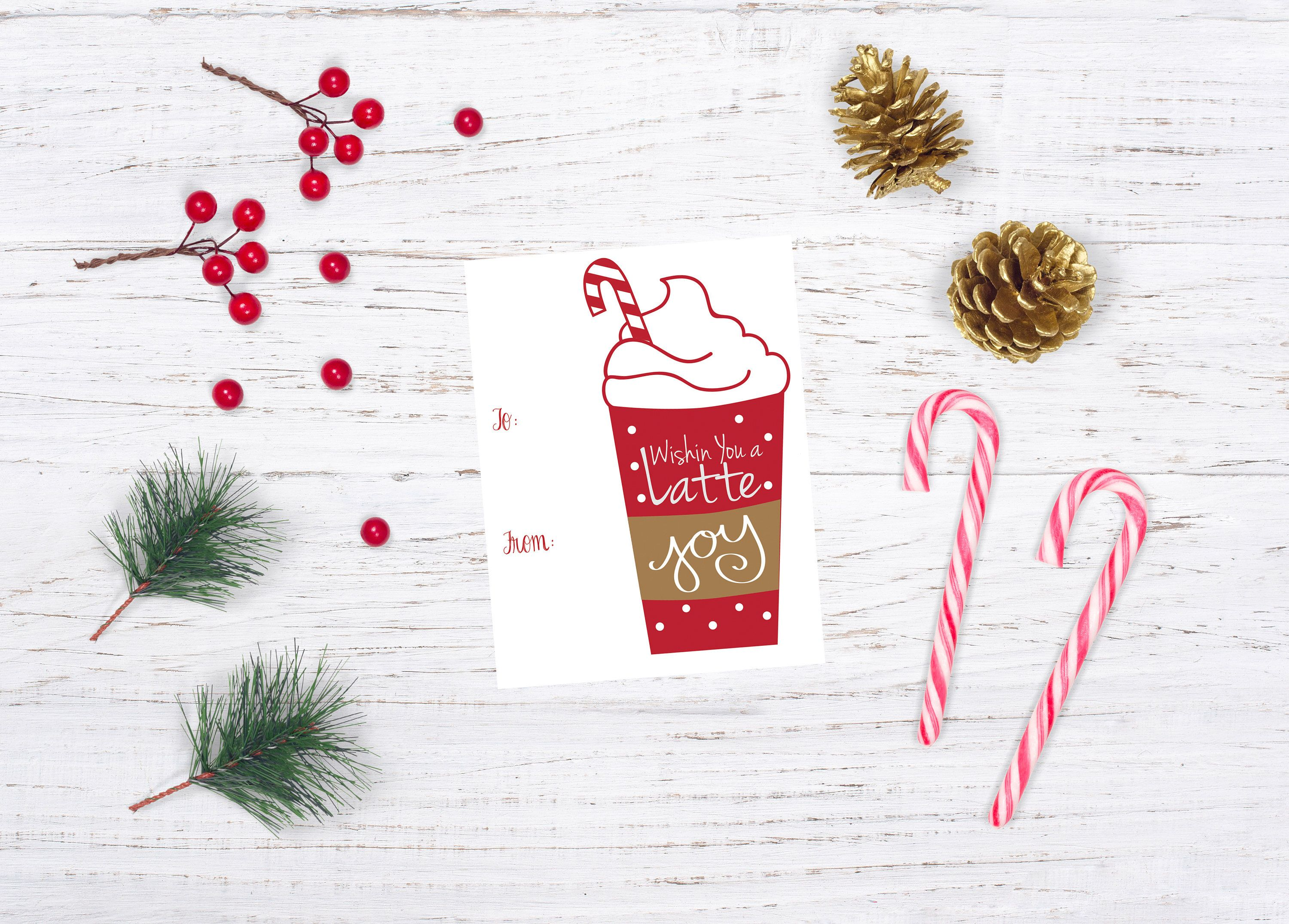Last Minute Gift Card Tag, Coffee Thank You Gift Tag, Printable ...