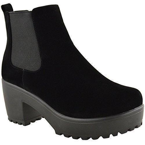 Nuevo De Mujer Tacón Medio Para Dama Plataforma Bloque Motero Botines Chelsea Zapatos Talla - Gamuza Negra, 39