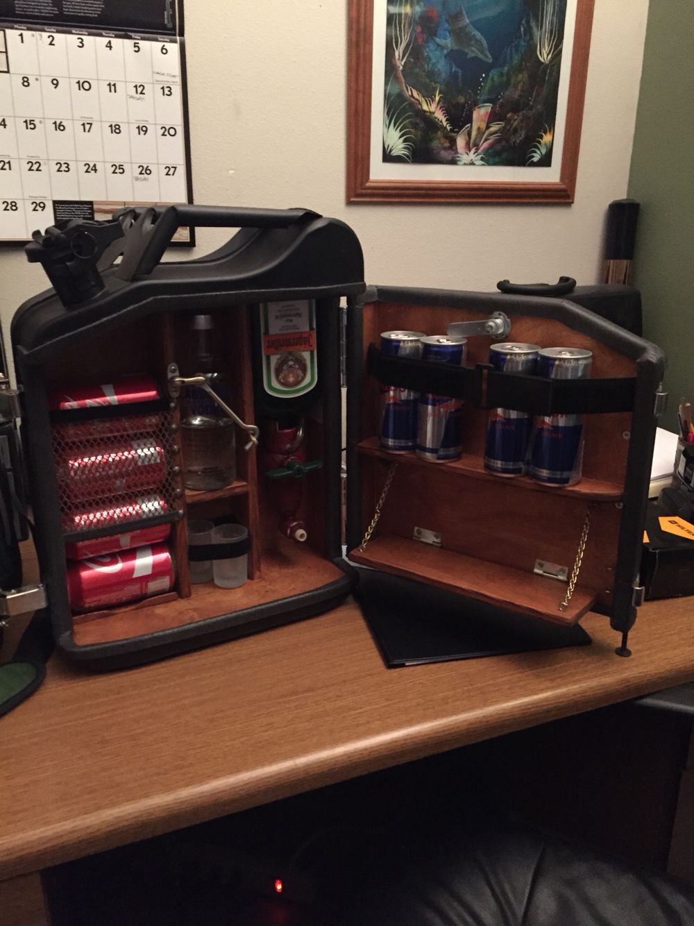 My take on the jerry can mini bar. A few months of work here and ...
