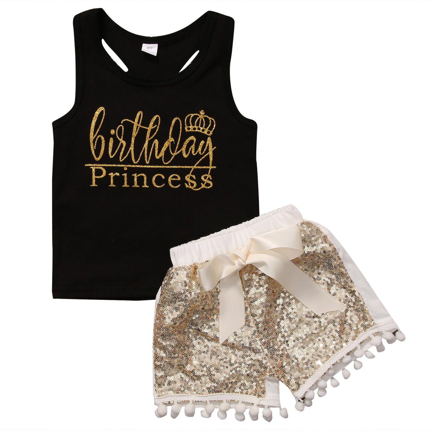 45c938df3b 2Pcs Toddler Baby Girl Kids Letters Tank T-shirt Tops + Sequin ...