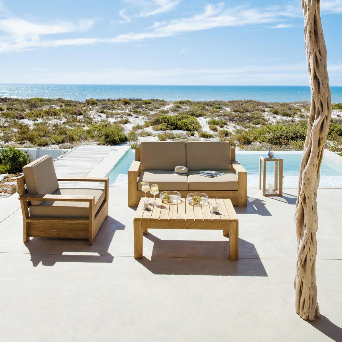 Table basse de jardin en teck L 102 | Salon de jardin et terrasse ...