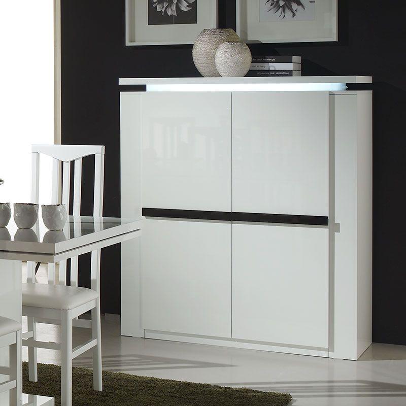 Buffet haut blanc et noir laqué lumineux design LUMINA | Buffet ...