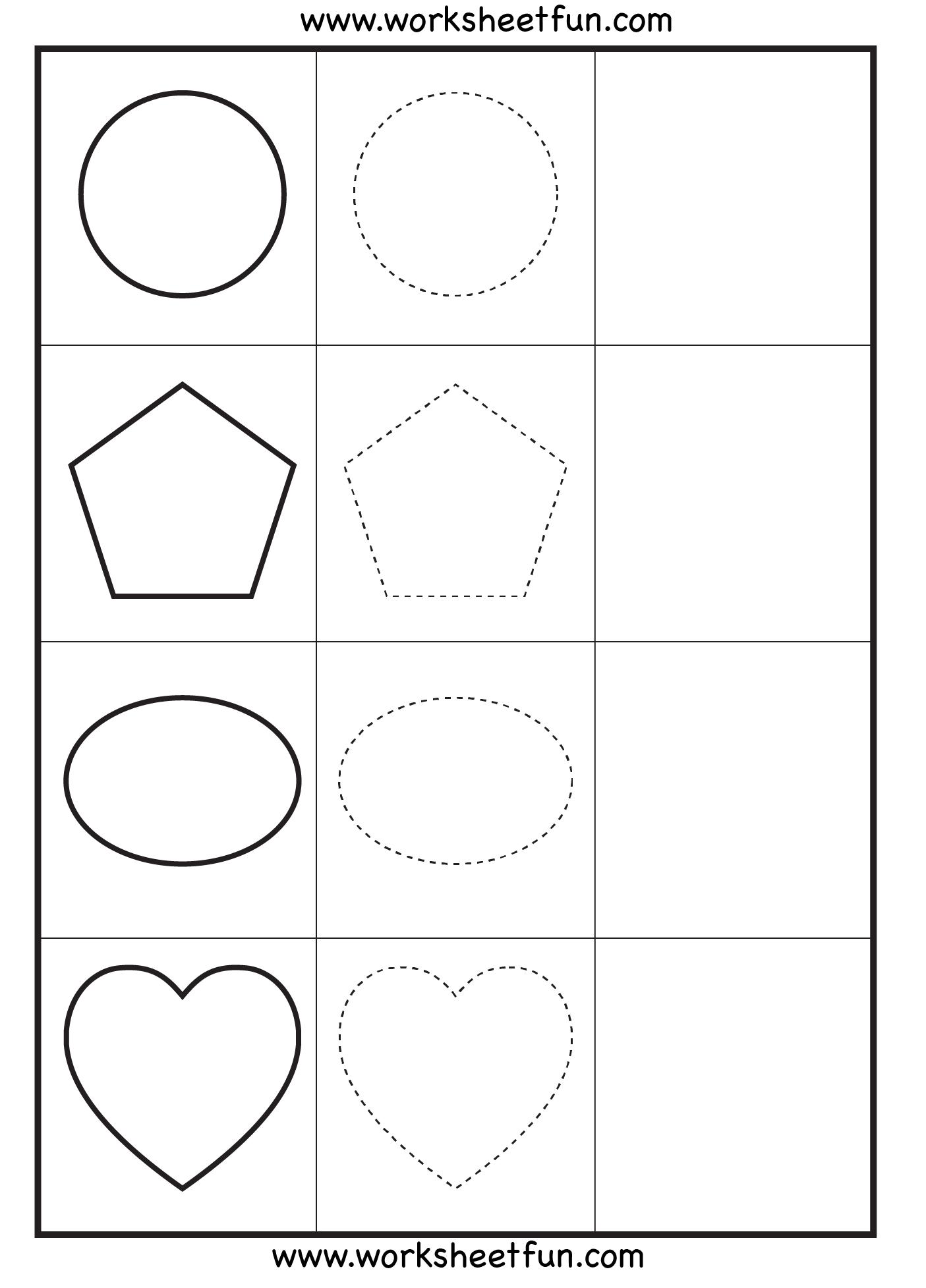 Shapes Tracing 3 Worksheets Printable Worksheets