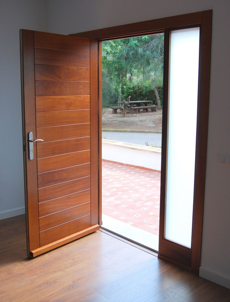 Resultado de imagen de puerta entrada mitad madera mitad cristal ...