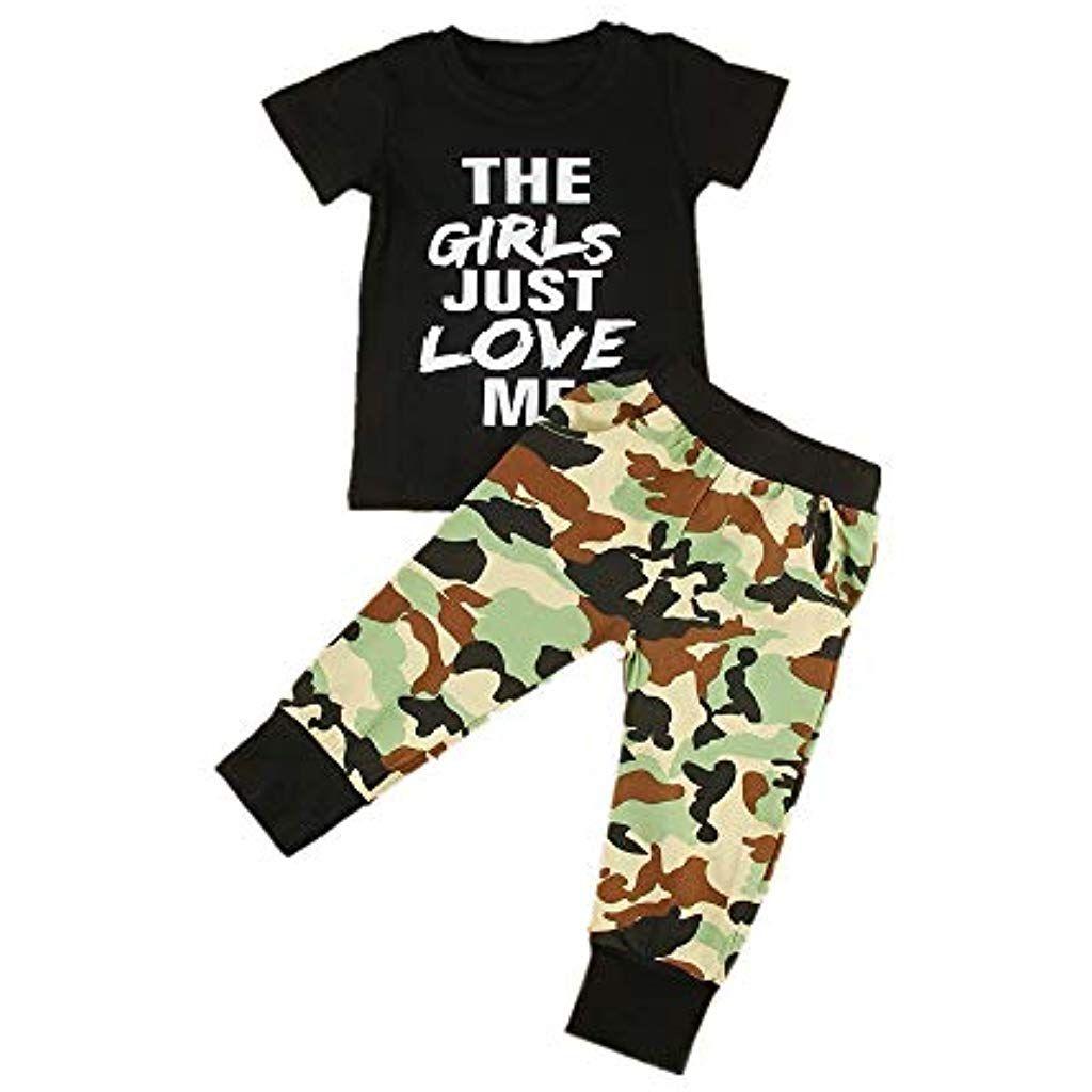 81a894fb987be Puseky 2pcs / Set Enfant bébé garçon vêtements vêtements Filles Juste maime  T-Shirt Camo