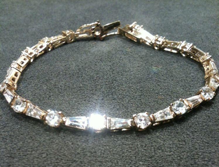 Estate Designer Gold Over 925 Sterling Silver Cz Tennis