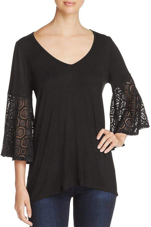Womens Crochet Detail Bell Sleeve Top Simply Be