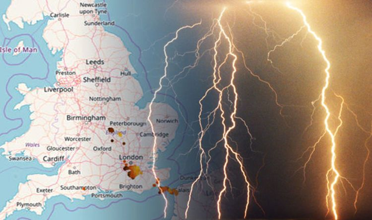 UK lightning map LIVE London struck by LIGHTNING storm Where will