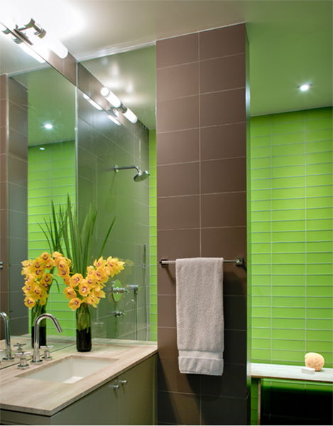 Pantone Green Flash Concepts And Colorways Bright Green Bathroom Tile Accent Wall Green Bathroom