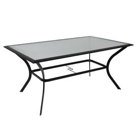 Garden treasures cascade creek glass top black rectangle patio garden treasures cascade creek glass top black rectangle patio dining table watchthetrailerfo