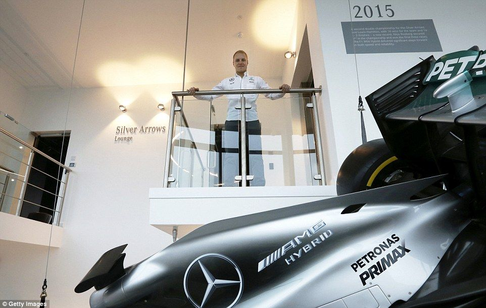 Bottas surveys his new empire at Mercedes' headquarters after putting pen to paper for the...